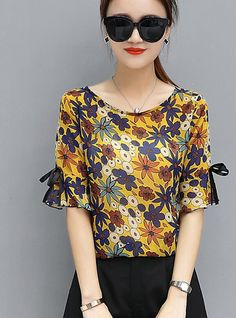 Women s Going out Cotton Blouse - Floral b09410427c9