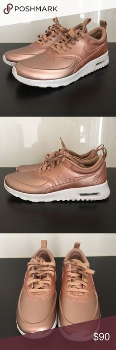 WOMENS NIKE AIR MAX THEA SE METALLIC BRONZE 7 EXCELLENT PREOWNED CONDITION   WORN ONCE HARD TO FIND   WOMENS NIKE AIR MAX THEA SE METALLIC BRONZE  PLEASE NOTICE THERE IS A SMALL MARKING ON TIP OF SHOE AS SHOWN IN PHOTOS PURCHASED THAT WAY  SIZE 7  COLOR METALLIC BRONZE   SHOES ONLY NO BOX Nike Shoes Athletic Shoes