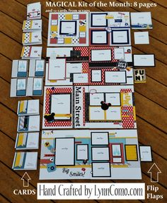 Magical Kit of the Month creates 8 Disney pages and cards from scraps.  Versatile kit would work for birthday, vacation, preschool and  graduation.  Limitless possibilities!  Click on the my LINK for more details.