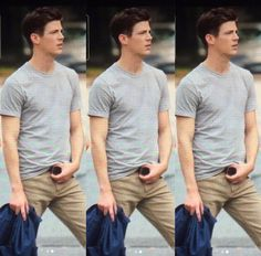 Grant Gustin on set of The Flash season 4