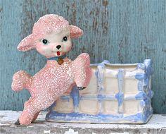 Vintage Ceramic Pink Lamb Planter Japan