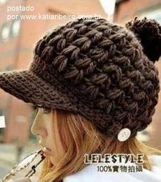 Katia Ribeiro Crochê Moda e Decoração Handmade   Gorro crochê Fácil com Aba  Com… Gorro 23e5063d55e