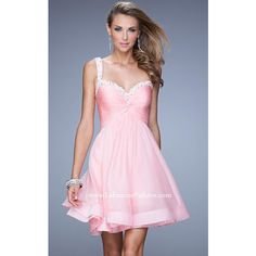 Short La Femme 20677 Cotton Candy Pink Beaded Homecoming Dress ($169) via Polyvore featuring dresses, cotton dresses, beaded dress, short dresses, short cotton dress and short length dresses
