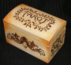 Wood burned box o' stuff. Kristie might really like this idea.