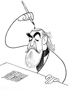 """Al Hirschfeld; his daughter was named Nina. In most of his illustrations, he would hide her name inside and I remember always looking for the """"Nina"""" whenever coming upon them. Sweet."""