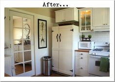 check out that fridge pretending to be a beautiful cabinet! simply use bead board, wall trim, and some nice barn-style hardware. she attached the bead board with a hot glue gun, and screwed the handles in manually. the hinges are just for show.