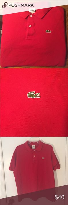 Men's Lacoste Red Polo - Large Lacoste Polo. No rips, stains or tears. Lacoste Shirts Polos