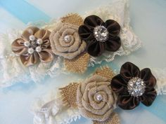 Burlap Rustic Wedding Garter Set Chocolate Country Bride