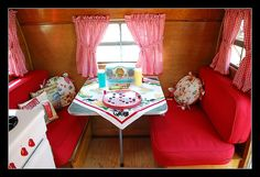 Vintage Trailer Interior ~ 1955 Trotwood travel trailer <3 the pillows
