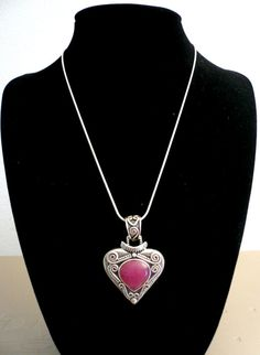 Balinese Ruby Jade Sterling Silver Heart Pendant. Valentines Day Gifts
