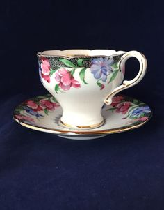 """Paragon Cup & Saucer """" Sweet Pea"""" Corset Waist Shaoed Cup - Excellent Cond."""