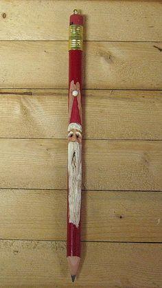 Hand Carved Santa Pencil Christmas Ornament. 8.00, via Etsy.