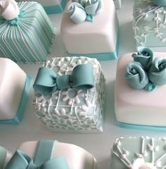 Tiffany Mini Cakes~                  by Naani, rosebud, bow, lace, filigree, stripe, square
