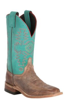 Justin Bent Rail Women's Rust Florence with Turquoise Dakota Double Welt Square Toe Western Boots | Cavender's