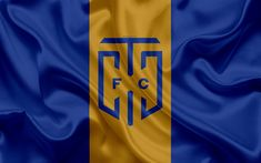 Download wallpapers Cape Town City FC, 4k, logo, blue gold silk flag, South African football club, emblem, Premier League, Cape Town, South Africa, football, silk texture