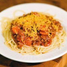 Filipino Spaghetti Sauce- Gotta have the hot dogs!