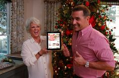Paula and Bobby goof around during a photo session. Paula Deen, Photo Sessions, Bobby, Behind The Scenes, Tiffany, Celebrity, Christmas, Xmas, Weihnachten