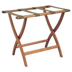Crafted from oak wood, this essential luggage rack features 4 woven straps and a convenient folding design.   Product: Luggage rack...