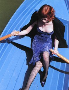 """Round the Clock"" Karen Elson by Arthur Elgort for Vogue UK"