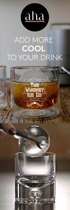 """The Whiskey Ice Co. - Embrace """"The Whiskey Lifestyle"""" with Spherical Ice Ball Makers! Chill your whiskey perfectly. 100% eco-friendly product made from reclaimed aluminum and packaged in post-consumer recycled materials. BUY NOW: http://www.ahalife.com/product/149000006935/spherical-ice-ball-maker-set?utm_source=Pinterest&utm_medium=ads&utm_campaign=WhiskeyIceCo_iOS&rw=0"""