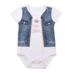 Baby Girl Digital Printed Denim Bodysuit with Little Queen Crown Queen Crown, Printed Denim, Jeans, Digital Prints, Girl Outfits, Baby, Bodysuit, Clothes, Tops