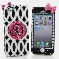 Bling Cases, Crystallized monogram 3D Pink Bow design case for iphone 5, iphone 5s, iphone 6, Samsung Galaxy S4, S5, Note 2, Note 3, LG, HTC, Sony – LuxAddiction.com