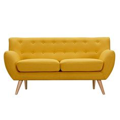 The Ida Loveseat characterizes a Danish design that elegantly unifies modern minimalist lines with functionality. Upholstered to perfection in a classic polyester fabric, this piece brings all the elements of harmony and affinity to your space.Material: Solid Ash Wood Natural Color Material: Polyester Color: Papaya Yellow Dimensions: W 63 x D 32.5 x H 25 Seat Height: 18 Arm Height: 24 Leg Assembly Required: 1 Person Assembly Packaging: Boxed Ships Via: Freight - Pallet