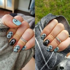 Day 1 vs. Day 14 Jamberry winter mani Nail art Check out my facebook page for more  https://m.facebook.com/Sam-Jamberry-Nail-Consultant-1049646865068981/