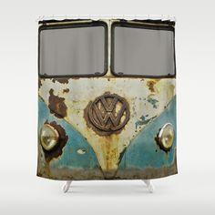 VW Rusty Shower Curtain by Alice Gosling - $68.00  #shower #bath #bathroom #decor #VW #Volkswagen #Camper #Bus #Rusty #Vintage #Retro #Classic