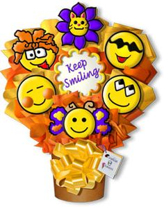 Decorated Cookies Gift | Keep Smiling Hand Decorated Cookie Bouquet Gift Arrangement Kitten ...
