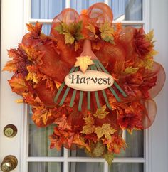 ON SALE Autumn Harvest Leaves Deco Mesh Wreath by delightfullydeco, $37.50