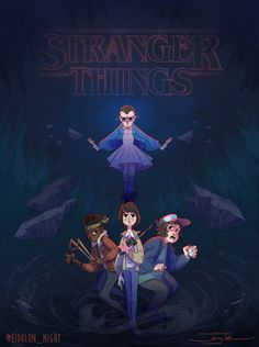 """""""Stranger Things, if it were an animated feature film!"""" by Jenny Calabro - Eleven, Lucas Sinclair, Mike Wheeler, and Dustin Henderson"""