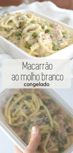 Como fazer pratos congelados? Macarrão ao molho branco congelado Healthy Drinks, Healthy Eating, Healthy Recipes, Frozen Meals, Make Ahead Meals, Pasta, Food Hacks, Meal Planning, Ravioli