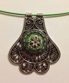 Antique Silver Filigree Necklace Silver and Green 1680 by addicted2glassfusion on Etsy https://www.etsy.com/listing/172999292/antique-silver-filigree-necklace-silver