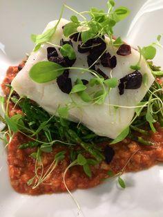 Poached halibut Romesco sauce, sea beans