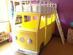 Fabulous yellow camper van bunk bed - Can't think of a kid (or Mum and Dad!) that wouldn't love this