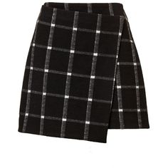 CHECK WRAP MINI SKIRT ($56) ❤ liked on Polyvore featuring skirts, mini skirts, bottoms, above the knee skirts, checkerboard skirt, checked skirt, short skirts and textured skirt