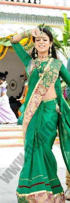 Indian Beauty Saree, Indian Sarees, Silk Sarees, Nayanthara Hairstyle, Nayantara Hot, Indian Bollywood, Saree Styles, Saree Blouse Designs, India Beauty