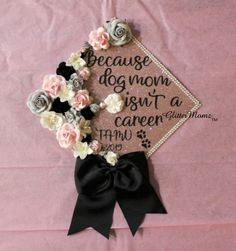 Masters Graduation Pictures Discover And Her Story Continues Cap Topper Decoration- with flowers border and bow Custom Graduation Caps, Graduation Cap Toppers, Graduation Cap Designs, Graduation Year, Graduation Cap Decoration, Nursing Graduation, Grad Cap, Graduation Pictures, Graduation Flowers