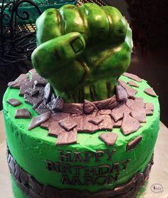Hulk smash birthday cake