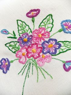 Vintage Hand Embroidered Tablecloth - #peonyandthistle