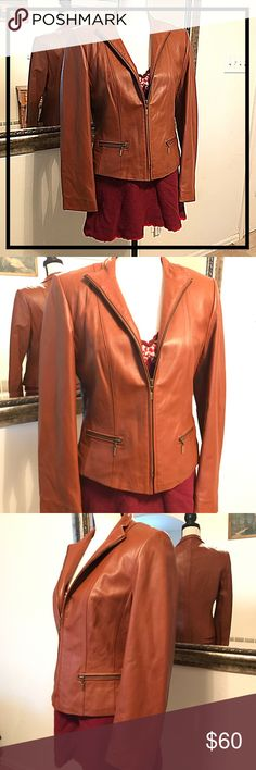 Talbots Soft Leather Jacket Figure Flattering Leather Talbots zip front jacket with pockets. Bust measures 18 inches laying flat not doubled and is 21 inches long. Very flattering. Excellent pre owned condition. Talbots Jackets & Coats