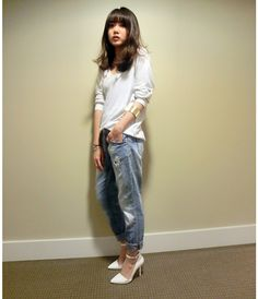 White with boyfriend jeans <3 BY SANDY L., GIRL FROM VANCOUVER