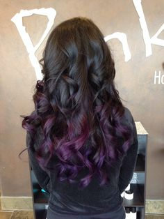 Go purple! Black hair with purple! Thanks to my hairstylist Kristen @ Pink Hair Studio. Absolutely love it...