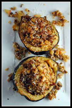 Sausage and Apple-Stuffed Acorn Squash...would use turkey sausage or turkey bacon, YUM!
