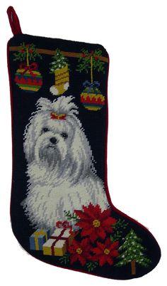 """Holiday Maltese Dog Christmas Needlepoint Stocking - 11"""" x 18"""""""