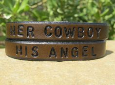 Set of Two Hand Tooled Leather Bracelets her by SarahsArtistry