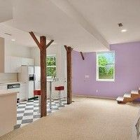Basement Apartment Renovation Ideas - love the posts!  Need something to replace that load-bearing wall...