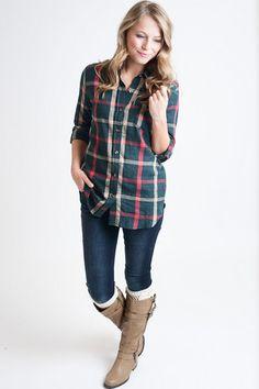 Holiday Green Plaid Button Down – Single Thread Boutique,  $42.00 #plaid #plaidshirt #greenplaid #holidayshirt #buttondown #green #singlethreadbtq #shopstb #boutique