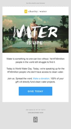 charity water today is world water day were speaking up for the 748million